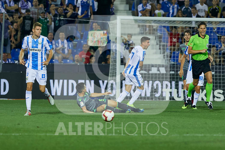 Leganes' Gerard Gumbau (l) and Daniel Ojeda (r) and Real Sociedad's Igor Zubeldia during La Liga match. August 24, 2018. (ALTERPHOTOS/A. Perez Meca)
