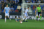 Leganes' Gerard Gumbau (l) and Daniel Ojeda (r) and Real Sociedad's Igor Zubeldia during La Liga match. August 24, 2018. (ALTERPHOTOS/A. Perez Meca)