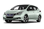 Stock pictures of low aggressive front three quarter view of a 2018 Nissan Leaf Tekna 5 Door Hatchback