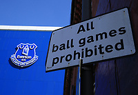 May 8th 2020, Liverpool, United Kingdom;  Everton's Goodison Park stadium during the suspension of the Premier League. A street sign on the corner of Goodison Road on the approach to the stadium