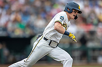 Michigan Wolverines shortstop Jack Blomgren (2) rounds first base during Game 1 of the NCAA College World Series against the Texas Tech Red Raiders on June 15, 2019 at TD Ameritrade Park in Omaha, Nebraska. Michigan defeated Texas Tech 5-3. (Andrew Woolley/Four Seam Images)