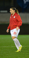 20151130 - LEUVEN ,  BELGIUM : Serbian Jelena Cankovic pictured during the female soccer game between the Belgian Red Flames and Serbia , the third game in the qualification for the European Championship in The Netherlands 2017  , Monday 30 November 2015 at Stadion Den Dreef  in Leuven , Belgium. PHOTO DIRK VUYLSTEKE
