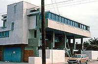 Rudolph Schindler: Lovell Beach House, Balboa. Newport Beach. 1922-26. 3/4 view.