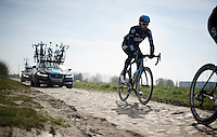 Sir Bradley Wiggins (GBR/Sky) checking a rough section over the Roubaix cobbles<br /> <br /> 2015 Paris-Roubaix recon with Team SKY