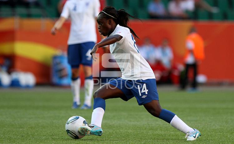 Wolfsburg , 270611 , FIFA / Frauen Weltmeisterschaft 2011 / Womens Worldcup 2011 , Gruppe B  ,  ..England - Mexico ..Eniola Aluko (England)  ..Foto:Karina Hessland ..