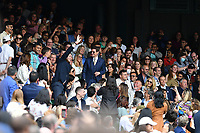 10th July 2021. Wilmbledon, SW London England. Wimbledon Tennis Championships 2021, Ladies singles final Ashleigh Barty versus  Karolina Pliskova (Czech);  Tom Cruise with Hayley Atwell and Pom Klementieff