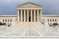 The Neoclassical US Supreme Court Building after a brief summer rain shower in Washington DC