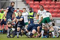 21st March 2021; AJ Bell Stadium, Salford, Lancashire, England; English Premiership Rugby, Sale Sharks versus London Irish; Faf de Klerk of Sale Sharks clears the ball