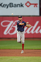 Portland Sea Dogs shortstop C.J. Chatham (15) throws to first base during an Eastern League game against the Erie SeaWolves on June 17, 2019 at UPMC Park in Erie, Pennsylvania.  Portland defeated Erie 6-3.  (Mike Janes/Four Seam Images)