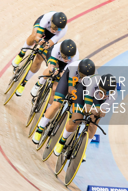 The team of Australia with Amy Cure, Ashlee Ankudinoff, Alexandra Manly and Rebecca Wiasak competes in the Women's Team Pursuit Finals as part of the 2017 UCI Track Cycling World Championships on 13 April 2017, in Hong Kong Velodrome, Hong Kong, China. Photo by Chris Wong / Power Sport Images