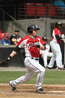 Carolina Mudcats catcher Jake Lowery #7 at bat during a game against the Lynchburg Hillcats at Five County Stadium on April 26, 2012 in Zebulon, North Carolina. Carolina defeated Lynchburg by the score of 8-5. (Robert Gurganus/Four Seam Images)