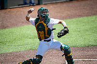 Wright State Raiders catcher Konner Piotto (23) on defense against the Duke Blue Devils in NCAA Regional play on Robert M. Lindsay Field at Lindsey Nelson Stadium on June 5, 2021, in Knoxville, Tennessee. (Danny Parker/Four Seam Images)
