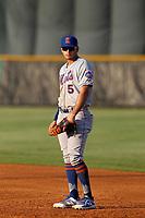 Kingsport Mets first baseman Kenny Hernandez (5) in the field during a game against the Burlington Royals at Burlington Athletic Complex on July 28, 2018 in Burlington, North Carolina. Burlington defeated Kingsport 4-3. (Robert Gurganus/Four Seam Images)