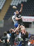 Ospreys lock Ian Evans beats his opposite number Mike Kearney to the line out ball.<br /> RoboPro 12<br /> Ospreys v Connacht<br /> 10.05.14<br /> ©Steve Pope-SPORTINGWALES