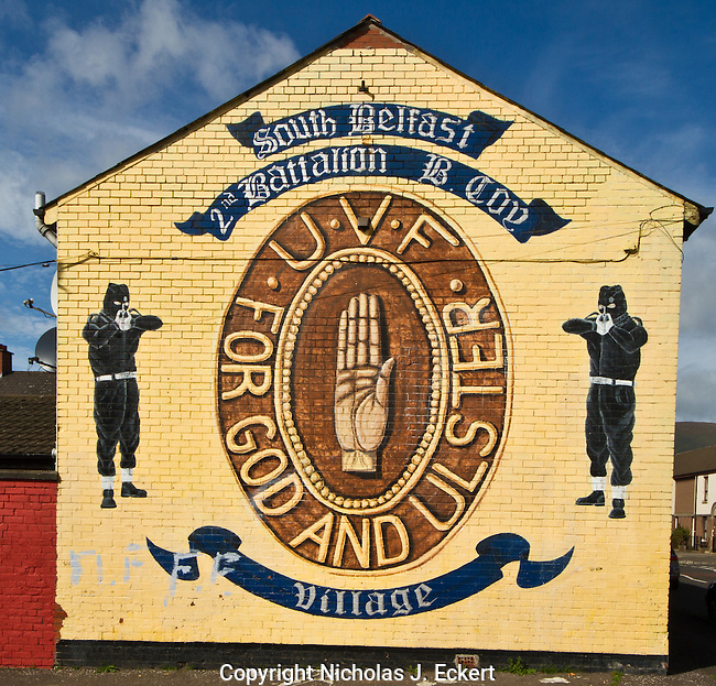 """This is a mural staking out the territory of a particular group of UVF men in the South Belfast neighborhood of the Village.  """"Ulster"""" is the name Loyalists use to refer to the six counties that make up the Northern Ireland statelet.  In contrast, Republicans call it """"the North of Ireland,"""" """"the North,"""" """"the Six Counties,"""" or """"the Black North."""""""