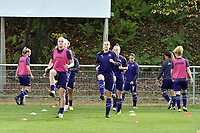 Anderlecht's midfielder Tine De Caigny  and Anderlecht's defender Laura De Neve pictured during the warming up of a female soccer game between RSC Anderlecht Dames and KRC Genk Ladies  on the sixth matchday of the 2020 - 2021 season of Belgian Womens Super League , Sunday 8 th of November 2020  in Overijse , Belgium . PHOTO SPORTPIX.BE | SPP | DIRK VUYLSTEKE