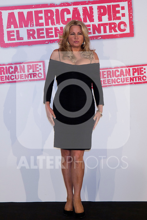 "19.04.2012. Presentation Photocall at the Hotel Villamagna in Madrid of ""American Pie. The Reunion"" with actors Jason Biggs (Jim), Sean William Scott (Stifler), Chris Klein (Oz), Mena Suvari (Heather), Eugene Levy (Jim's father) and Jennifer Coolidge (Stifler's Mother) and directors John Hurwitz and Hayden Schlossberg. In the picture: Jennifer Coolidge (Alterphotos/Marta Gonzalez)"