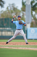 Tampa Bay Rays Carlos Vargas (95) throws to first base during an Instructional League game against the Baltimore Orioles on October 5, 2017 at Ed Smith Stadium in Sarasota, Florida.  (Mike Janes/Four Seam Images)