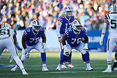 Buffalo Bills tackle Jordan Mills (79) and guard John Miller (76) on the line during an NFL football game against the New York Jets, Sunday, December 9, 2018, in Orchard Park, N.Y.  (Mike Janes Photography)