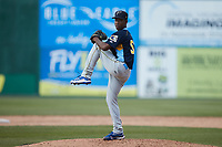 Myrtle Beach Pelicans relief pitcher Jose Miguel Gonzalez (53) in action against the Lynchburg Hillcats at Bank of the James Stadium on May 23, 2021 in Lynchburg, Virginia. (Brian Westerholt/Four Seam Images)