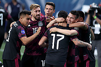6th June 2021. Denver, Colorado, USA;  Mexico forward Jesus Corona celebrates with teammates after scoring a goal  during the CONCACAF Nations League finals between Mexico and the United States  at Empower Field at Mile High in Denver, CO.