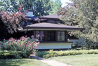 Frank LLoyd Wright: Walter V. Davidson House, 1908. 57 Tillinghast Place, Buffalo. Street (North Elevation)  Photo '88
