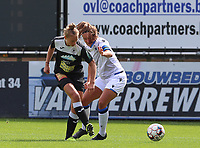 Aalst's Margaux Van Ackere (37) (L) and Brugge's Ellen Martens (2) (R) in action during a female soccer game between Eendracht Aalst and Dames Club Brugge YLA on the first matchday of the 2020 - 2021 season of Belgian Women's SuperLeague , friday 28 of August 2020  in Aalst , Belgium . PHOTO SPORTPIX.BE | SPP | SEVIL OKTEM