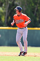 Baltimore Orioles minor league player Michael Ohlman #16 during a spring training game vs the Boston Red Sox at the Buck O'Neil Complex in Sarasota, Florida;  March 22, 2011.  Photo By Mike Janes/Four Seam Images