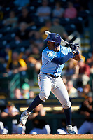 Tampa Bay Rays right fielder Justin Williams (74) at bat during a Spring Training game against the Pittsburgh Pirates on March 10, 2017 at LECOM Park in Bradenton, Florida.  Pittsburgh defeated New York 4-1.  (Mike Janes/Four Seam Images)