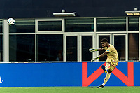 FOXBOROUGH, MA - AUGUST 5: Nick Holliday #24 of North Carolina FC takes a goal kick during a game between North Carolina FC and New England Revolution II at Gillette Stadium on August 5, 2021 in Foxborough, Massachusetts.