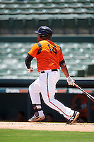 GCL Orioles first baseman Carlos Diaz (14) at bat during a game against the GCL Twins on August 11, 2016 at the Ed Smith Stadium in Sarasota, Florida.  GCL Twins defeated GCL Orioles 4-3.  (Mike Janes/Four Seam Images)