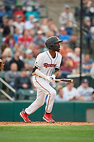 Rochester Red Wings Nick Gordon (1) at bat during an International League game against the Buffalo Bisons on May 31, 2019 at Frontier Field in Rochester, New York.  Rochester defeated Buffalo 5-4 in ten innings.  (Mike Janes/Four Seam Images)
