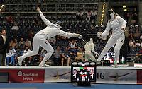 European Championships Fencing 2010 / Fecht Europameisterschaft 2010 in Leipzig - Competition Championat d'europe - im Bild: Damen Degen - Gefecht / battle - Imke Duplitzer (GER, left) against Britta Heidemann ( GER, Olympic Gold Medallist 2008)  . Foto: Norman Rembarz..Norman Rembarz , Autorennummer 41043728 , Augustenstr. 2, 04317 Leipzig, Tel.: 01794887569, Hypovereinsbank: BLZ: 86020086, KN: 357889472, St.Nr.: 231/261/06432 - Jegliche kommerzielle Nutzung ist honorar- und mehrwertsteuerpflichtig! Persönlichkeitsrechte sind zu wahren. Es wird keine Haftung übernommen bei Verletzung von Rechten Dritter. Autoren-Nennung gem. §13 UrhGes. wird verlangt. Weitergabe an Dritte nur nach  vorheriger Absprache..