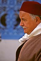 Man Wearing a Traditional Tunisian Hat, a Chechia.