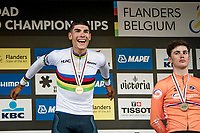 Filippo Baroncini (ITA/Colpack Ballan) is the 2021 U23 Road Race World Champion<br /> Biniam Ghirmay Hailu (ERI/Intermarché - Wanty Gobert) finishes 2nd and Olav Kooij (NED/Jumbo-Visma) 3rd<br /> <br /> U23 - Road Race (WC)<br /> race from Antwerp to Leuven (161.1km)<br /> <br /> UCI Road World Championships - Flanders Belgium 2021<br /> <br /> ©kramon