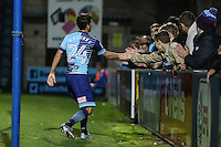 Scott Kashket of Wycombe Wanderers celebrates scoring his team's second goal to make it 2-0 during the The Checkatrade Trophy match between Wycombe Wanderers and West Ham United U21 at Adams Park, High Wycombe, England on 4 October 2016. Photo by David Horn.