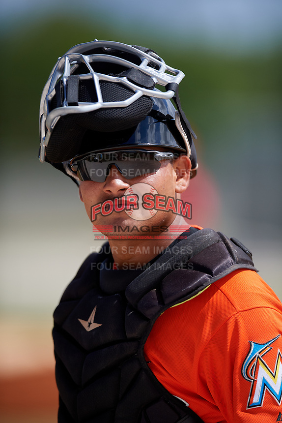 Miami Marlins Rodrigo Vigil during a Minor League Spring Training game against the St. Louis Cardinals on March 26, 2018 at the Roger Dean Stadium Complex in Jupiter, Florida.  (Mike Janes/Four Seam Images)