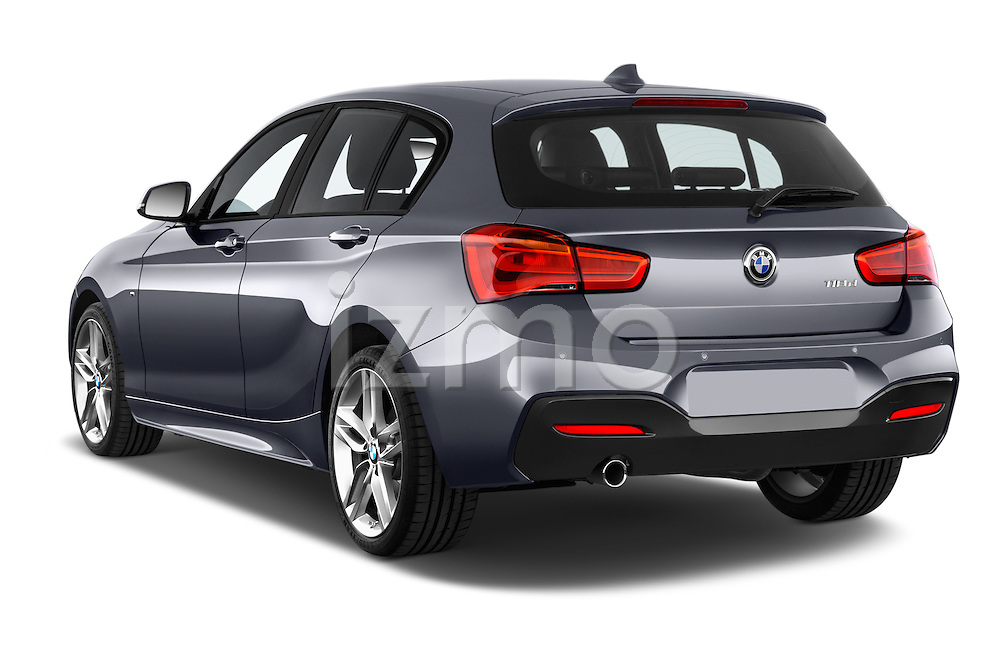 Car pictures of rear three quarter view of a 2015 BMW 1 Series M Sport 5 Door Hatchback Angular Rear