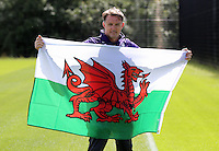Pictured: Goalkeeping coach Tony Roberts shows his support to the Wales national team Wednesday 06 July 2016<br /> Re: Swansea City FC training at the club's Fairwood Training Ground in the outskirts of Swansea, south Wales, UK.