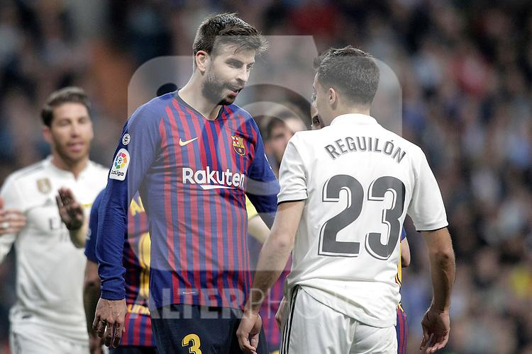 Real Madrid CF's Sergio Reguilon argues with and FC Barcelona's Gerard Pique during La Liga match. March 02,2019. (ALTERPHOTOS/Alconada)