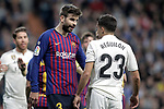 Real Madrid CF's Sergio Reguilon argues with and FC Barcelona's Gerard Pique during La Liga match. March 02,2019. (ALTERPHOTOS/Alconada)