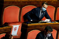 Senators wearing mask and gloves<br /> Rome March 26th 2020. Senate. Information of the Italian Premier about the measures adopted to contrast Coronavirus, Covid-19.<br /> Photo Samantha Zucchi Insidefoto