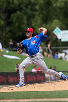 South Bend Cubs relief pitcher Bryan King (46) delivers a pitch during a game against the Wisconsin Timber Rattlers on July 21, 2021 at Neuroscience Group Field at Fox Cities Stadium in Grand Chute, Wisconsin.  (Brad Krause/Four Seam Images)