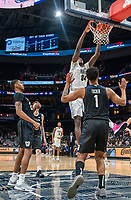 WASHINGTON, DC - JANUARY 28: Qudus Wahab #34 of Georgetown shoots a basket during a game between Butler and Georgetown at Capital One Arena on January 28, 2020 in Washington, DC.