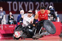 26th August 2021; Tokyo, Japan; <br />  Yukinobu Ike (JPN),  WheelChair Rugby : Pool Phase Group A match <br /> between Japan 60-51 Denmark <br /> during the Tokyo 2020 Paralympic Games <br /> at the Yoyogi National Gymnasium in Tokyo, Japan.