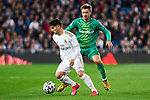 Brahim Diaz of Real Madrid and Nacho Monreal of Real Sociedad during La Liga match between Real Madrid and Real Sociedad at Santiago Bernabeu Stadium in Madrid, Spain. February 06, 2020. (ALTERPHOTOS/A. Perez Meca)
