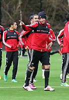 Tuesday 15 January 2013<br /> Pictured: Michu joking about<br /> Re: Swansea City FC training near the Liberty Stadium ahead of their Cup game against Arsenal at the Emirates Stadium.