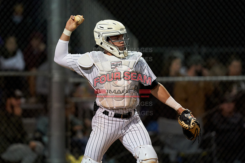 Sarasota Sailors catcher Satchell Norman (19) during a game against the Riverview Rams on February 19, 2021 at Rams Baseball Complex in Sarasota, Florida. (Mike Janes/Four Seam Images)