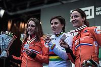 Women's Elite race podium:<br /> <br /> 1. Sanne Cant (BEL)<br /> 2. Lucinda Brand (NED)<br /> 3. Marianne Vos (NED)<br /> <br /> UCI 2019 Cyclocross World Championships<br /> Bogense / Denmark<br /> <br /> ©kramon