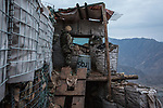 A soldier on his shift at the second tower of Mohammed Said checkpoint, Kunar, Afghanistan, 16th November 2017. <br /> <br /> Un sodat fait son shift à la tour deux du poste avancé Mohammed Said,Kunar, Afghanistan, 16 novembre 2017.